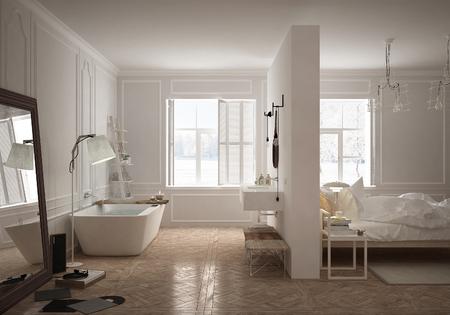 Bedroom & bathroom in scandinavian style 스톡 콘텐츠