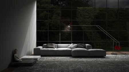 APARTMENT LIVING: Living lounge night scene