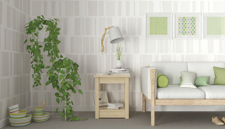 comfort room: Green & White interior scandinavian