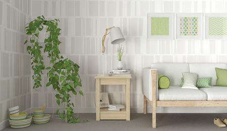 living room design: Green & White interior scandinavian