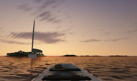 보트와 일몰 바다 장면
