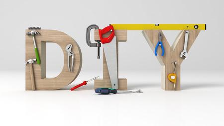 DYI 개념, 비문, 편지 및 흰색 배경에 도구