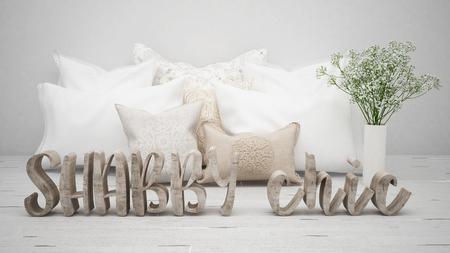 초라한 세련된 컨셉, 베개와 꽃이있는 나무로되는 편지 스톡 콘텐츠