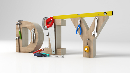 DYI 개념, 비문, 편지 및 흰색 배경에 도구 스톡 콘텐츠 - 74280069