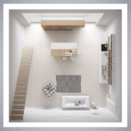 Scandinavian white kitchen, minimalistic interior design, cross section, top view