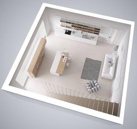 openspace: Scandinavian white kitchen, minimalistic interior design, cross section, top view