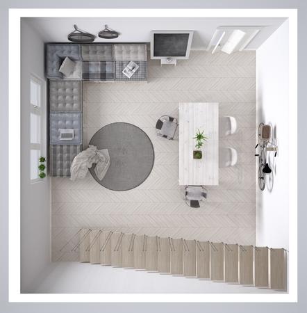 DIY 팔레트 소파 인테리어 디자인, 횡단면, 상위 뷰 스칸디 나비아 화이트 생활 스톡 콘텐츠