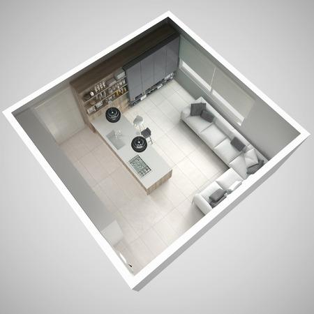 미니멀 화이트 주방, 나무와 회색 디테일, 최소한의 인테리어 디자인, 횡단면, 평면도 스톡 콘텐츠 - 75677375