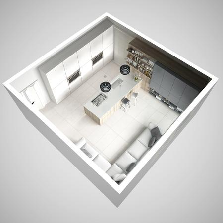미니멀 화이트 주방, 나무와 회색 디테일, 최소한의 인테리어 디자인, 횡단면, 평면도 스톡 콘텐츠