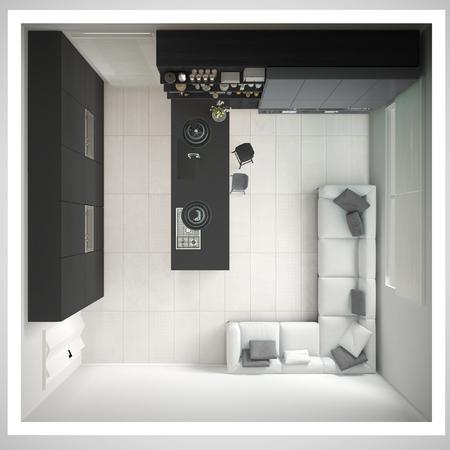 최소 회색 부엌, 나무와 회색 디테일, 최소한의 인테리어 디자인, 횡단면, 평면도 스톡 콘텐츠 - 75371685