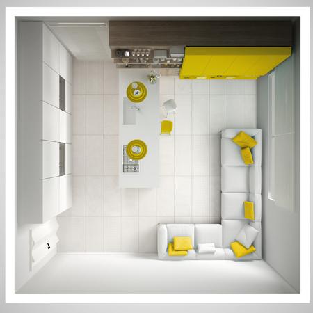 최소한의 흰색 부엌, 나무와 노란색 세부 정보, 최소한의 인테리어 디자인, 횡단면, 상위 뷰 스톡 콘텐츠