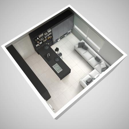 최소 회색 부엌, 나무와 회색 디테일, 최소한의 인테리어 디자인, 횡단면, 평면도 스톡 콘텐츠 - 75371688