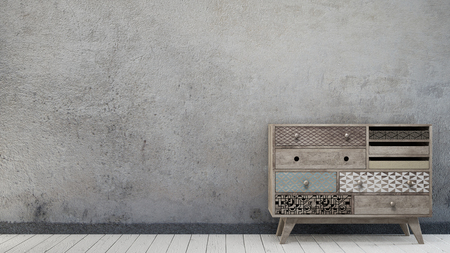 Vintage interior with aged wall and scandinavian chest of drawer 스톡 콘텐츠