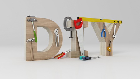 DYI 개념, 비문, 편지 및 흰색 배경에 도구 스톡 콘텐츠 - 78815853