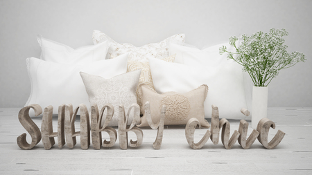 Shabby chic concept, wooden letters with pillows and flowers