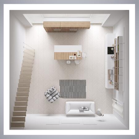 스칸디나비아 화이트 부엌, 미니멀리즘 인테리어 디자인, 횡단면, 윗면