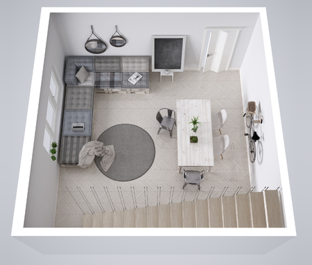 Scandinavian white living, with DIY pallet couch sofa interior design, cross section, top view 스톡 콘텐츠