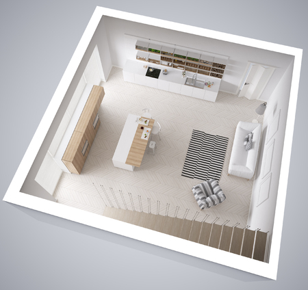 carpet clean: Scandinavian white kitchen, minimalistic interior design, cross section, top view