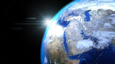태양과 구름과 공간에서 지구 글로브를 닫습니다, 중동 게재