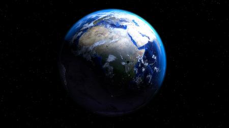 아프리카, 유럽 및 중동을 보여주는 구름과 공간에서 지구 글로브 스톡 콘텐츠