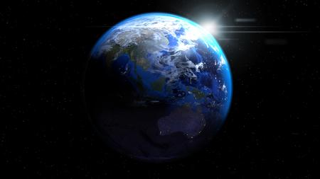 태양과 구름, 아시아와 호주를 보여주는 공간에서 지구 글로브