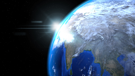 Earth globe from space with sun and clouds, close up, showing India