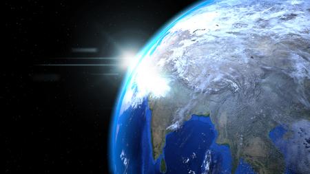 태양과 구름 공간에서 지구 글로브가 닫습니다, 인도 게재