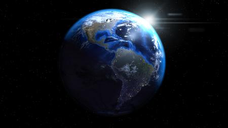 태양과 구름, 북과 남아메리카 보여주는 공간에서 지구 글로브 스톡 콘텐츠 - 78965829