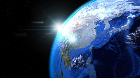 태양과 구름과 공간 지구 글로브를 닫습니다, 아시아를 보여주는 스톡 콘텐츠 - 78980025