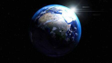 태양, 구름, 아프리카, 유럽 및 중동을 보여주는 공간에서 지구 글로브