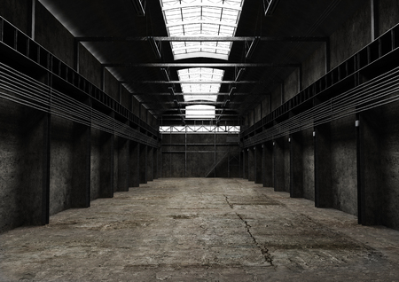 Industrial empty space, vintage old interior design