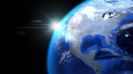 태양과 구름 공간에서 지구 글로브를 닫습니다, 북미 게재