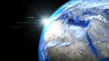 Earth globe from space with sun and clouds, close up, showing Africa and Europe