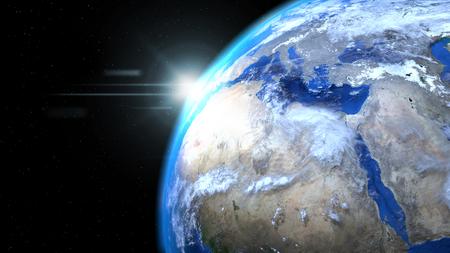 태양과 구름, 공간에서 지구의 지구를 닫습니다, 아프리카와 유럽을 보여주는 스톡 콘텐츠 - 78849173