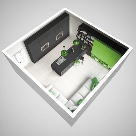 미니멀리즘 회색 주방, 나무와 녹색 디테일, 최소한의 인테리어 디자인, 횡단면, 평면도