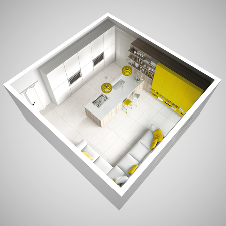 Minimalistic white kitchen, with wooden and yellow details, minimal interior design, cross section, top view 스톡 콘텐츠