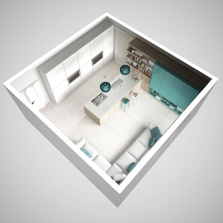 미니멀 화이트 주방, 나무와 청록색 디테일, 최소한의 인테리어 디자인, 횡단면, 평면도
