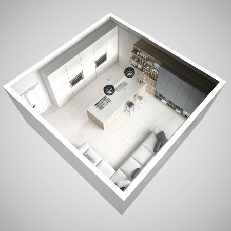 Minimalistic white kitchen, with wooden and gray details, minimal interior design, cross section, top view