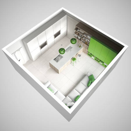 최소한의 흰색 부엌, 나무와 녹색 세부 정보, 최소 인테리어 디자인, 횡단면, 상위 뷰 스톡 콘텐츠