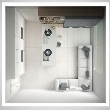 미니멀 화이트 주방, 나무와 회색 디테일, 최소한의 인테리어 디자인, 횡단면, 평면도 스톡 콘텐츠 - 78909506