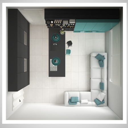 Minimalistic gray kitchen, with wooden and turquoise details, minimal interior design, cross section, top view