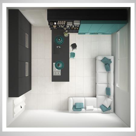 미니멀리즘 회색 부엌, 나무와 청록색 디테일, 최소한의 인테리어 디자인, 횡단면, 평면도 스톡 콘텐츠