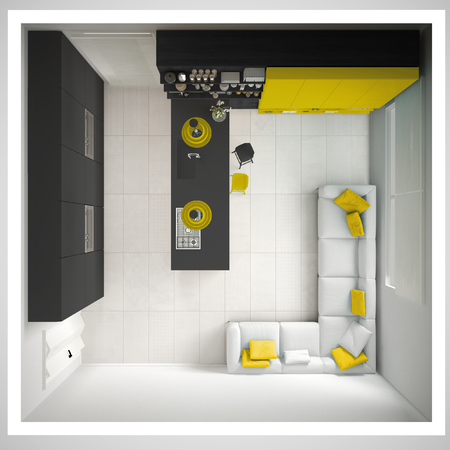 최소한의 회색 부엌, 나무와 노란색 세부 정보, 최소한의 인테리어 디자인, 횡단면, 상위 뷰 스톡 콘텐츠