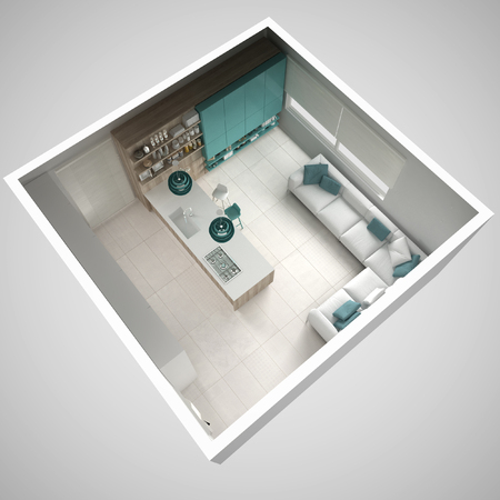 Minimalistic white kitchen, with wooden and turquoise details, minimal interior design, cross section, top view