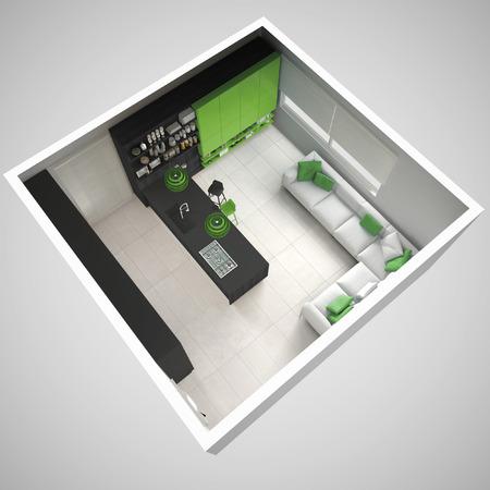 미니멀리즘 회색 주방, 나무와 녹색 디테일, 최소한의 인테리어 디자인, 횡단면, 평면도 스톡 콘텐츠 - 78909526