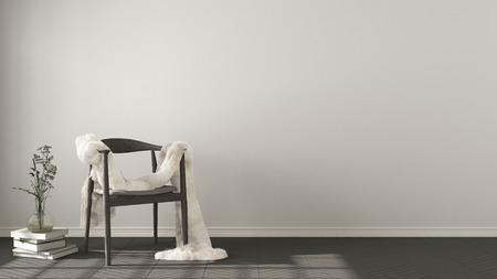 Scandinavian white background, wooden armchair with fur on herringbone natural parquet flooring, interior design