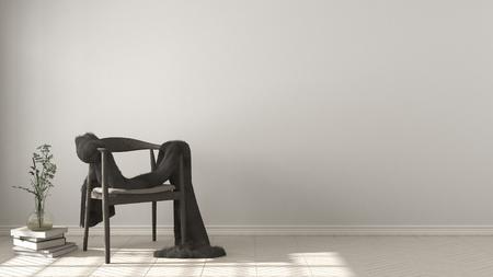 스 칸디 나 비아 흰색 배경, herringbone 자연 마루 바닥, 인테리어 디자인에 모피와 목조 안락의 자