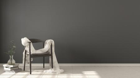 스칸디나비아 흰색과 회색 배경, 헤링본 자연 모루 바닥, 인테리어 디자인에 모피와 목조 안락의 자 스톡 콘텐츠