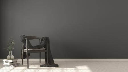 스칸디나비아 흰색과 회색 배경, 헤링본 자연 모루 바닥, 인테리어 디자인에 모피와 목조 안락의 자 스톡 콘텐츠 - 78971060
