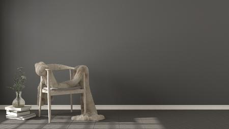 스칸디나비아 회색 배경, 헤링본 자연 모루 바닥, 인테리어 디자인에 모피와 목조 안락 의자